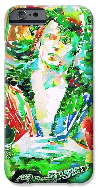 Bowie iPhone Cases - David Bowie Watercolor Portrait.2 iPhone Case by Fabrizio Cassetta