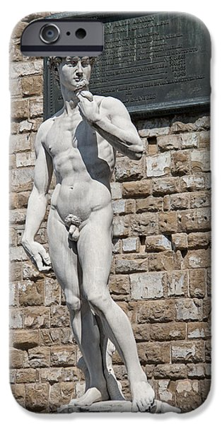 Statue Portrait iPhone Cases - David by Michelangelo iPhone Case by Melany Sarafis