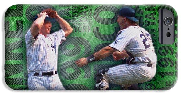 David Mixed Media iPhone Cases - David Cone Yankees Perfect Game 1999 iPhone Case by Tony Rubino