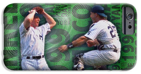 David Mixed Media iPhone Cases - David Cone Yankees Perfect Game 1999 iPhone Case by Tony Rubino
