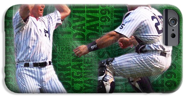 David Mixed Media iPhone Cases - David Cone Yankees Perfect Game 1999 Zoom iPhone Case by Tony Rubino
