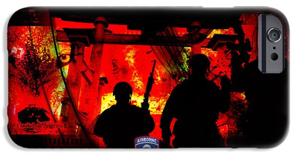 Soldiers Digital iPhone Cases - David Cook Los Angeles 187th Regiment Rakkasan Ne Desit Virtus Artwork iPhone Case by David Cook Los Angeles