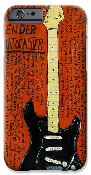 Fender Strat Paintings iPhone Cases - David Gilmour Black Stratocaster iPhone Case by Karl Haglund