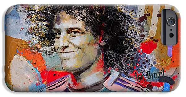 Brasil iPhone Cases - David Luiz iPhone Case by Corporate Art Task Force