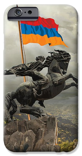 Recently Sold -  - Flag iPhone Cases - David Of Sassoun iPhone Case by Bedros Awak