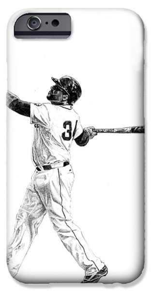 Red Sox Drawings iPhone Cases - David Ortiz iPhone Case by Joshua Sooter