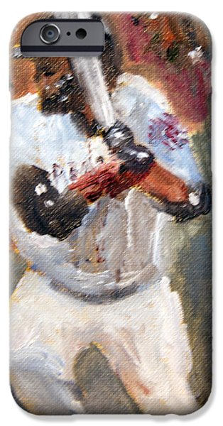 Red Sox Paintings iPhone Cases - David Ortiz Stepping into the Pitch iPhone Case by Michael Helfen