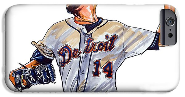 Mlb Drawings iPhone Cases - David Price iPhone Case by Dave Olsen