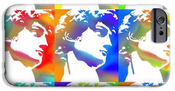 David Mixed Media iPhone Cases - David Repeat Treatment multiple Colors iPhone Case by Tony Rubino