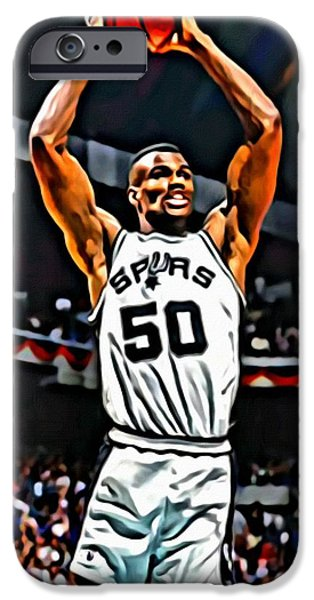 Slam Photographs iPhone Cases - David Robinson iPhone Case by Florian Rodarte