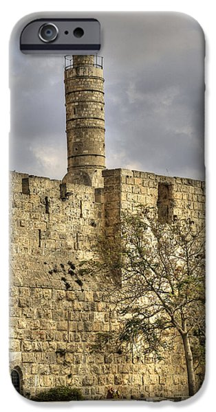 David iPhone Cases - David tower Jerusalem iPhone Case by Isaac Silman