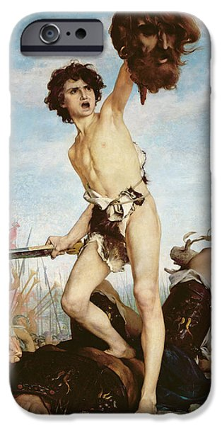 Bible iPhone Cases - David Victorious Over Goliath iPhone Case by Gabriel Joseph Marie Augustin Ferrier