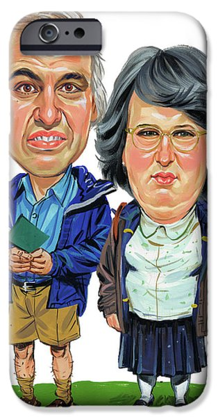 David iPhone Cases - David Walliams and Matt Lucas as George and Sandra iPhone Case by Art