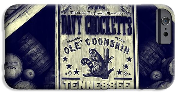 Mountain Cabin iPhone Cases - Davy Crocketts Tennessee Whiskey iPhone Case by Dan Sproul