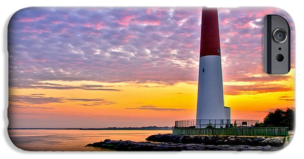 Lighthouse iPhone Cases - Dawn at Barnegat Lighthouse iPhone Case by Mark Miller