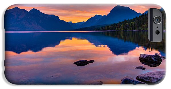 National Treasure iPhone Cases - Dawn at Lake McDonald iPhone Case by Adam Mateo Fierro