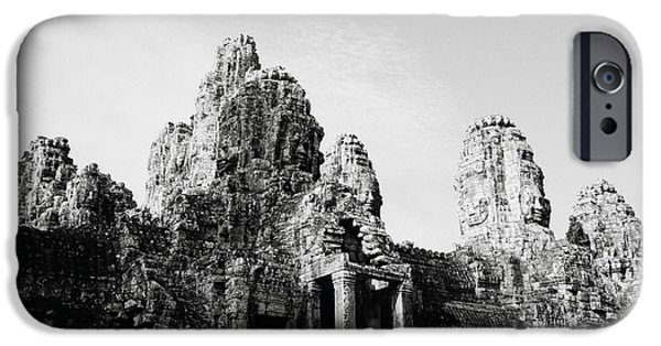 Eerie iPhone Cases - Dawn At The Bayon iPhone Case by Shaun Higson