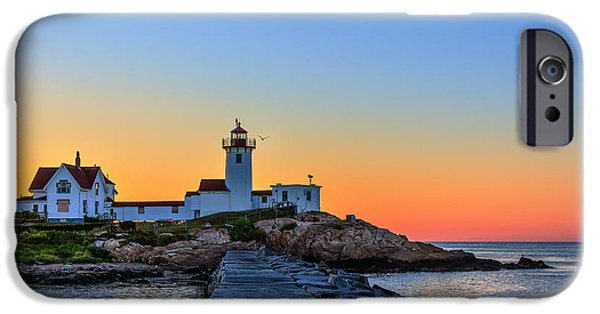New England Lighthouse iPhone Cases - Dawn at the lighthouse iPhone Case by Paul Tomlin