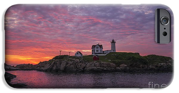 Nubble Lighthouse iPhone Cases - Dawn at the Nubble iPhone Case by Steven Ralser