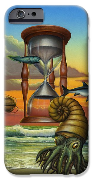The Beginning iPhone Cases - Dawn - Beginning Of Time - Hourglass - Sea Creature Creatures - Beach Surf - Art - Walt Curlee iPhone Case by Walt Curlee