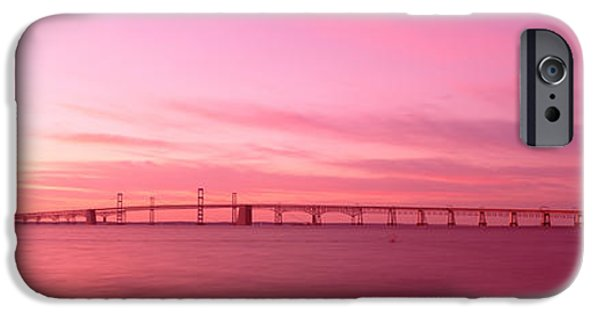 Pastel iPhone Cases - Dawn, Chesapeake Bay Bridge, Maryland iPhone Case by Panoramic Images