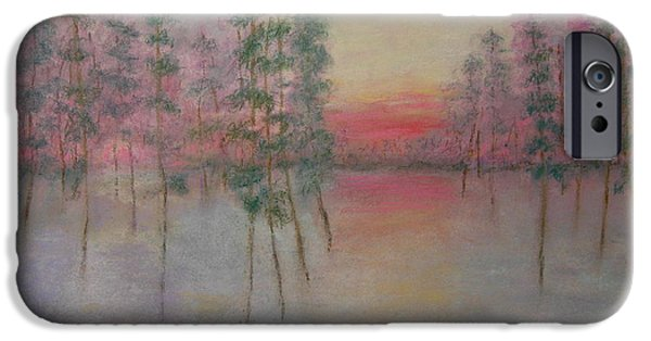 Poetic Pastels iPhone Cases - Dawn on the Cypress Marsh iPhone Case by Mary Ellen Bitner