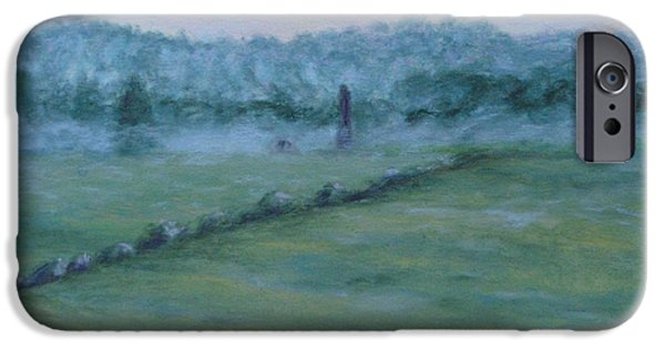 War Pastels iPhone Cases - Dawn Over The Railroad Cut-Gettysburg iPhone Case by Joann Renner
