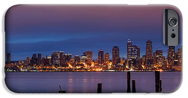 Safeco iPhone Cases - Dawn Panorama of Downtown Seattle from Alki Beach iPhone Case by Silvio Ligutti