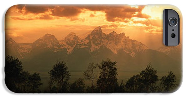 Storm iPhone Cases - Dawn Teton Range Grand Teton National iPhone Case by Panoramic Images