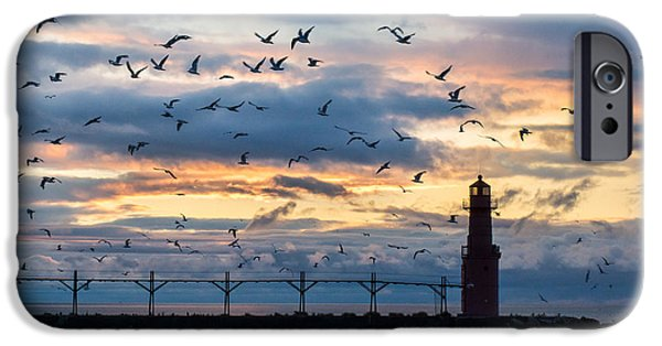 Flying Seagull iPhone Cases - Dawns Early Flight iPhone Case by Bill Pevlor