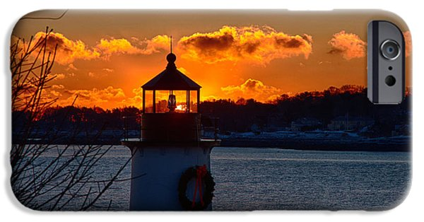New England Lighthouse iPhone Cases - Dawns rising behind the freznel  iPhone Case by Jeff Folger