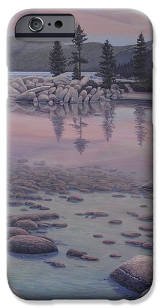 Waterscape Paintings iPhone Cases - Dawns Stillness iPhone Case by James English Babcock