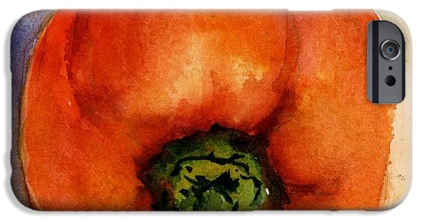 Nature Study Paintings iPhone Cases - Day 20 Orange Pepper  iPhone Case by Virginia Potter