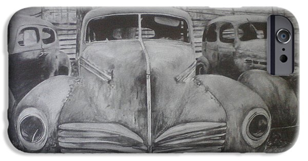 Rust Drawings iPhone Cases - Forgotten Classics  iPhone Case by Shannon  Savage