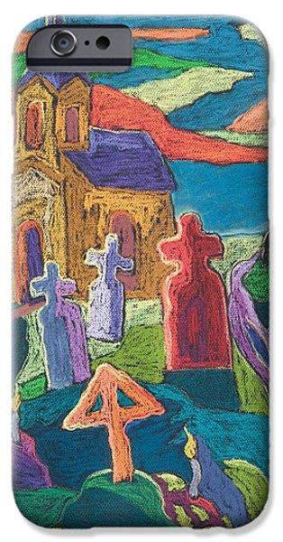 Eerie iPhone Cases - Day Of The Dead, 2006 Pastel On Paper iPhone Case by Marta Martonfi-Benke