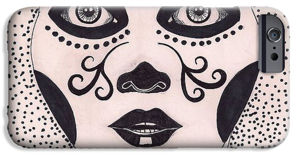 Diy Drawings iPhone Cases - Day of the dead  iPhone Case by Elizabeth Cadena