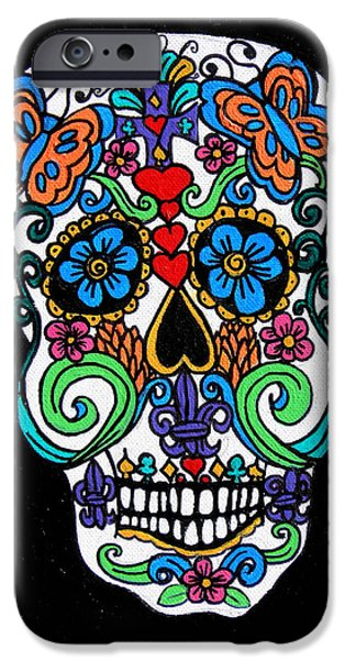 Day Of The Dead Skull iPhone Case by Genevieve Esson