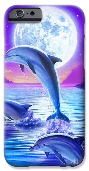 Spell iPhone Cases - Day of the Dolphin iPhone Case by Robin Koni
