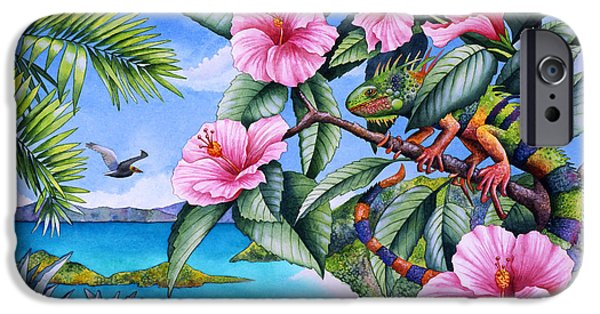 Iguana iPhone Cases - Day Of The Iguana iPhone Case by Carolyn Steele