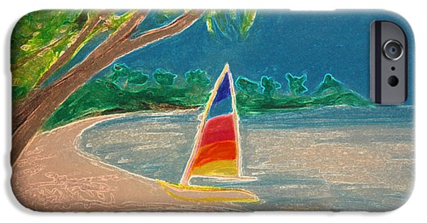 Sailing Pastels iPhone Cases - Day Sailer iPhone Case by First Star Art