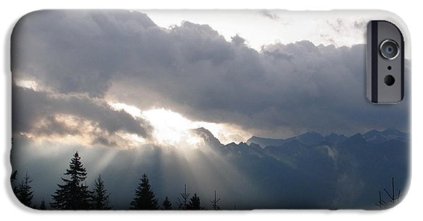 Rare Moments iPhone Cases - Daybreak Over Lepontine Alps iPhone Case by Agnieszka Ledwon