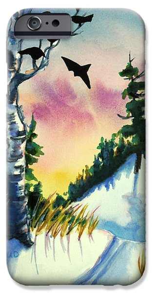 Park Scene Mixed Media iPhone Cases - Daybreak Ski              iPhone Case by Kathy Braud
