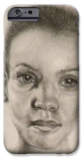 African-american Drawings iPhone Cases - Daydreams Drawing iPhone Case by Susan A Becker