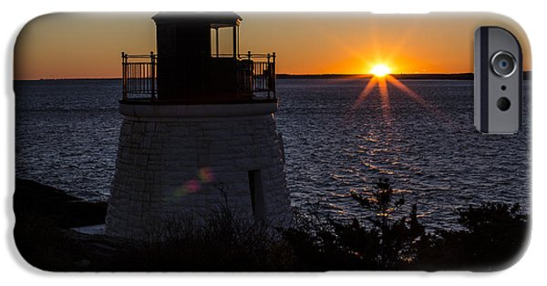 New England Lighthouse iPhone Cases - Days End At Castle Hill Full Color iPhone Case by Andrew Pacheco