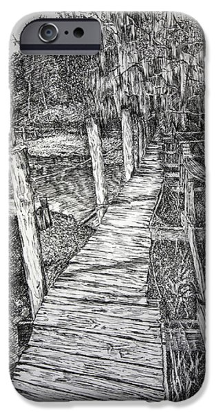 Pen And Ink iPhone Cases - Days Gone By iPhone Case by Janet Felts