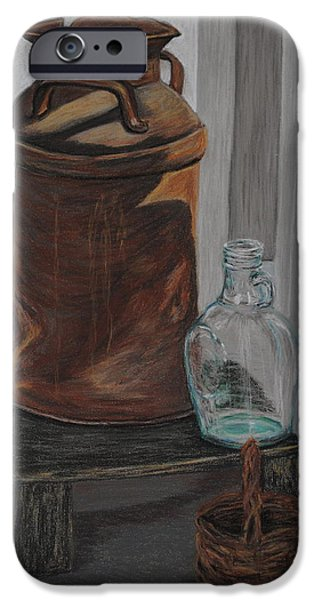 Basket Pastels iPhone Cases - Days Past Still Life iPhone Case by Marilyn Peters