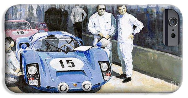 Classic Sports Cars iPhone Cases - Daytona 1966 Porsche 906 Herrmann-Linge iPhone Case by Yuriy  Shevchuk