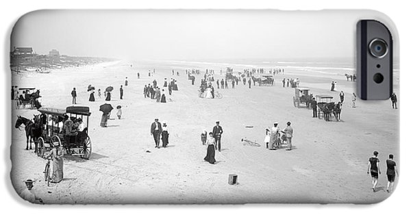 Horse And Buggy iPhone Cases - Daytona Beach Florida  1904 iPhone Case by Daniel Hagerman