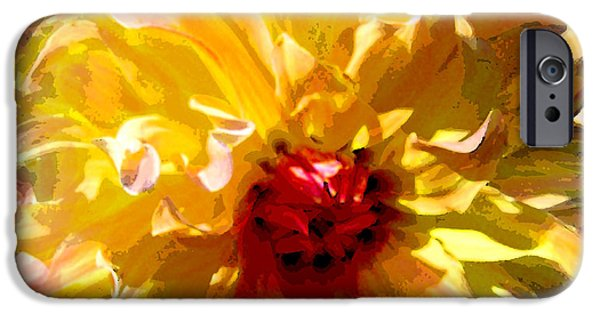 Botanic Illustration Digital Art iPhone Cases - Dazzling Yellow Dahlia iPhone Case by Michele  Avanti