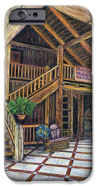 Cabin Interiors iPhone Cases - DB Cabin Mixed Media iPhone Case by Walt Foegelle